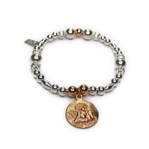 Sterling Silver and Mixed Metal Ball Bracelets with Rose Gold Cherub Charm