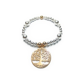 Sterling Silver and Mixed Metal Ball Bracelets with Rose Gold Tree of Life