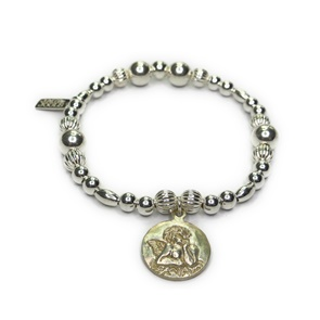 Sterling Silver and Mixed Metal Ball Bracelets with Silver Cherub Charm
