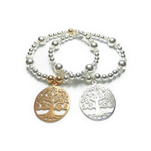Sterling Silver and Mixed Metal Ball Bracelets with Tree of Life