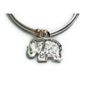 Sterling Silver and Rose Gold Ball & Noodle Bracelet with Elephant Back Closeup
