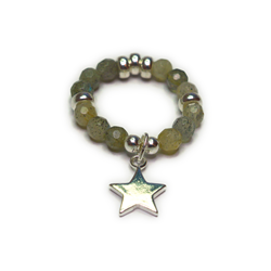 Faceted Labradorite and Sterling Silver Ball Ring with Star Charm