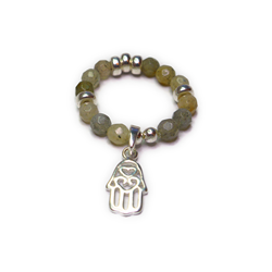 Faceted Labradorite and Sterling Silver Ring with Hamsa Charm