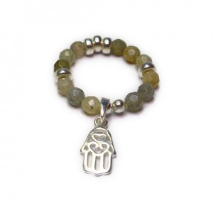 Labradorite & Sterling Silver Ring with Hamsa Charm