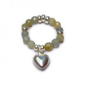 Labradorite & Sterling Silver Ring with Puffed Charm