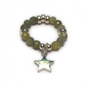 Labradorite & Sterling Silver Ring with Star Charm