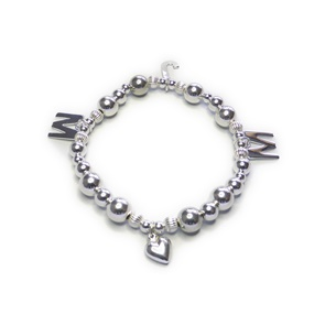 Custom Sterling Silver Family Bracelet with Initials and Heart, Magali Gorre