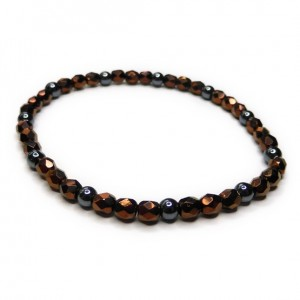Faceted Bronze & Hematite Glitterball Stacking Bracelet