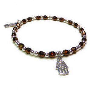 Faceted Bronze & Sterling Silver Glitterball with Hamsa