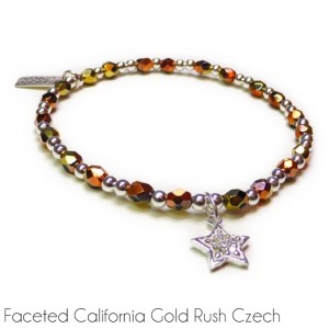 Faceted California Gold Rush Bracelet & Sterling Silver with CZ Star