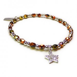 Faceted California Gold Rush & Sterling Silver with CZ Star