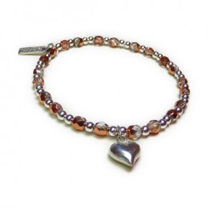 Faceted Copper & Sterling Silver Glitterball with Heart
