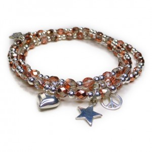 Faceted Copper and Sterling Silver Glitterball Stack