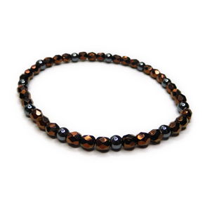 Faceted Czech Bronze with Hematite Stacking Bracelet