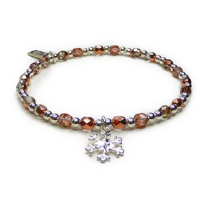 Faceted Czech Copper & Sterling Silver Stacking Bracelet with Snowflake