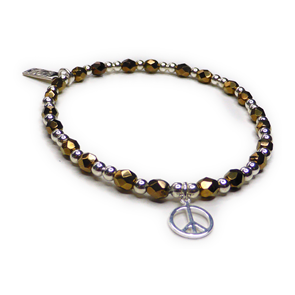 Faceted Czech Gold & Sterling Silver Stacking Bracelet with Peace