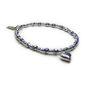 Faceted Czech Silver and Sterling Silver Stacking Bracelet with Puffed Heart