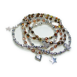 Faceted Czech & Sterling Silver Glitterball Bracelets with Charm Choice