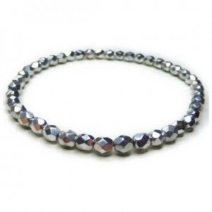 Faceted Silver Czech Bracelet to Stack