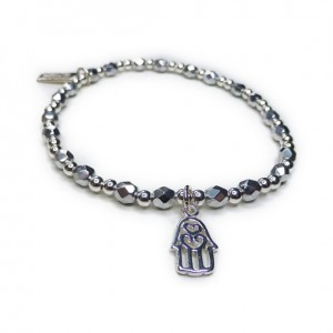 Faceted Silver & Sterling Silver Glitterball with Hamsa