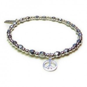 Faceted Silver & Sterling Silver Glitterball with Peace
