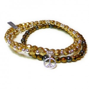 The Gold Faceted Glitterball Stack with Sterling Silver Peace Charm