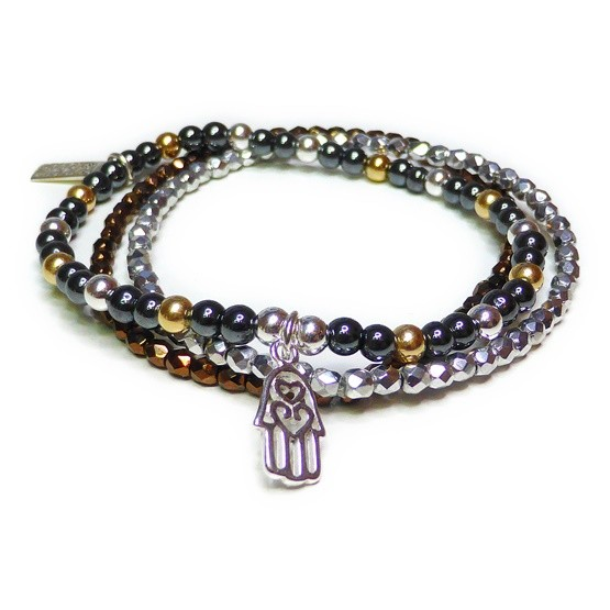 Hematite & Mixed Metal Glitterball Stack with Hamsa