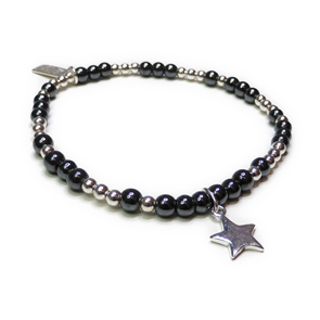 Hematite & Sterling Silver Glitterball Stacking Bracelet with Star