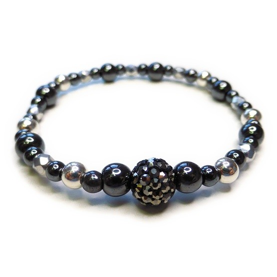 Chunky Hematite & Sterling Silver Bracelet with Gunmetal Pave Crystal