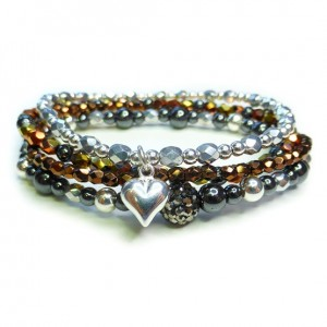Hematite and Sterling Silver Glitterball Stack with Chunky with Pave