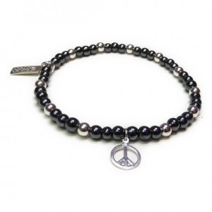Hematite and Sterling Silver Glitterball with Peace