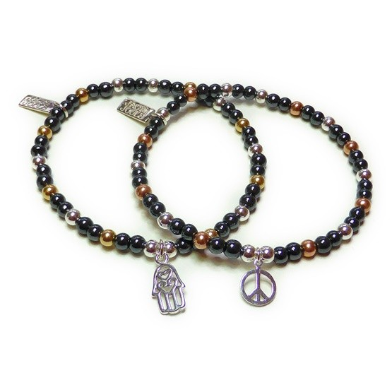 Mixed Metal & Hematite with Hamsa and Peace