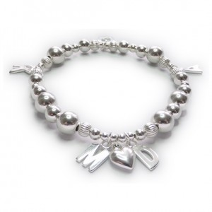 Sterling Silver Chunky Mixed Ball Family Bracelet As Seen On Magali Gorre