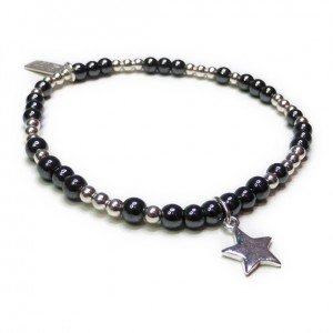 Sterling Silver & Hematite Glitterball with Star