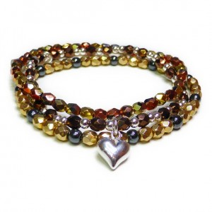 The Bronze Faceted Glitterball Stack with Sterling Silver Puffed Heart Charm