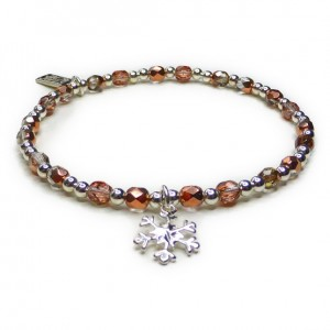 The Copper Faceted Glitterball Bracelet with Sterling Silver Snowflake Charm
