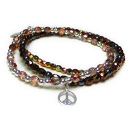 The Copper Faceted Glitterball Stack with Sterling Silver Peace Charm