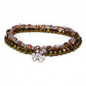 The Copper Faceted Glitterball Stack with Sterling Silver Snowflake Charm