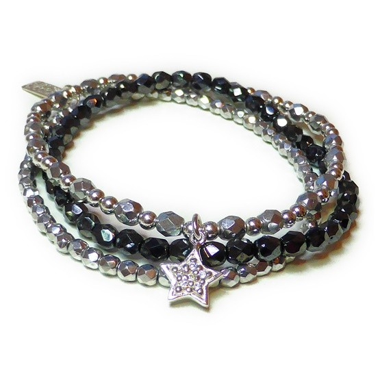 The Faceted Silver Glitterball Stack with Sterling Silver CZ Star Charm