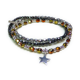 The Gold Rush Faceted Glitterball Stack with Sterling Silver Star Charm