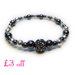 £3 Off Our Chunky Hematite & Sterling Silver Glitterball Bracelet with Pave