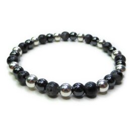 Black Labradorite Men's Midi Bracelet with Sterling Silver & Hematite Ball Beads