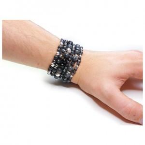 Black Labradorite Stack on Wrist