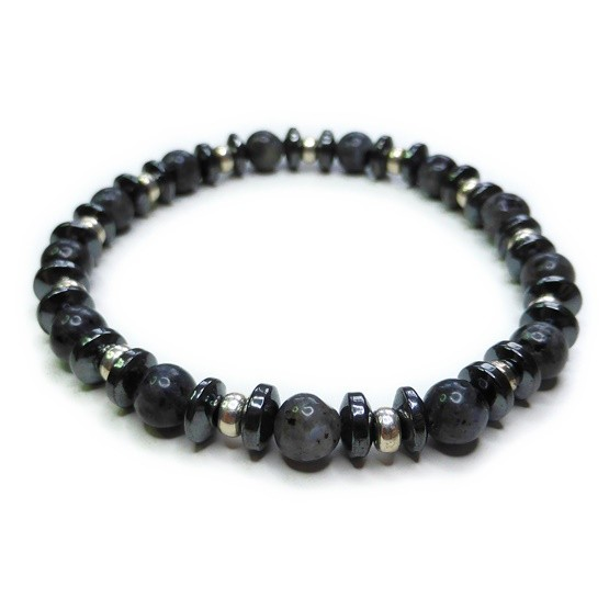 Black Labrodorite Men's Midi Bracelet with Sterling Silver Rondelles & Hematite Saucers