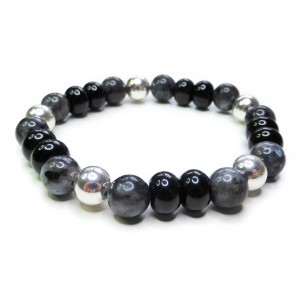 Chunky Black Labradorite Men's Bracelet with Sterling Silver & Black Onyx