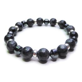 Chunky Black Labradorite Men's Bracelet with Sterling Silver & Hematite Cones