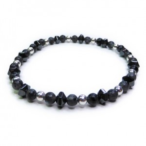 Skinny Black Labradorite Men's Bracelet with Sterling Silver and Faceted Hematite