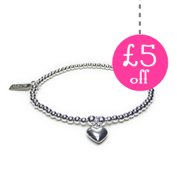 Sterling Silver Ball Bracelet with Heart with £5 Off