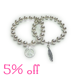 5% off our Chunky Ball Bracelets with Peace or Feather with 50 Treats To Christmas by Jacy & Jools