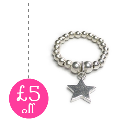 Sterling Silver Ball Ring with Star on 50 Treats to Christmas